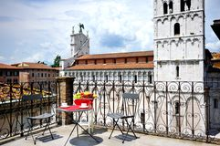 Terrace overlooking cathedral of Lucca, Tuscany, Italy Royalty Free Stock Image