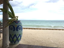 Terrace overlooking the Indian Ocean. Exoticism and beauty of Africa. Zanzibar royalty free stock photo