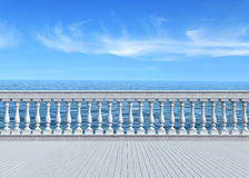 Terrace overlooking the sea. Empty terrace overlooking the sea with concrete balustrade and woosen white floor - rendering Royalty Free Stock Photo