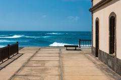 Terrace overlooking the sea. Fuerteventura royalty free stock images