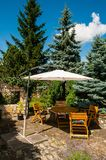 Terrace with parasol Royalty Free Stock Photography