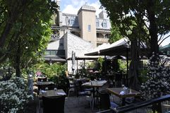 Quebec, 28th June: Terrace in Park Felix Leclerc from Rue du Champlain in Old Quebec City in Canada. Terrace in Park Leclerc from Rue du Champlain in Old Quebec stock photos