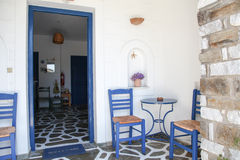 Terrace on Paros island Stock Photo