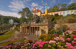 The terrace at Portmeirion. Is just one of the many attractive features of this Italianate village in Wales,UK Stock Images