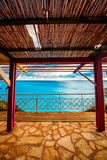 Terrace at the Porto Katsiki beach Royalty Free Stock Images