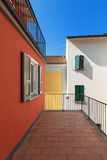 Terrace of a red house. Architecture, terrace of a red house, exterior Stock Images
