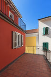 Terrace of a red house. Architecture, terrace of a red house, exterior Royalty Free Stock Image