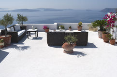 Terrace of a resort in Oia. Stock Photos