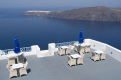 Terrace of a resort in Oia. Royalty Free Stock Photos
