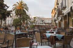 Terrace restaurant. In Baeza. Andalucia Stock Photos