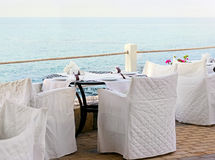 Terrace restaurant with beautiful sea view Stock Photos