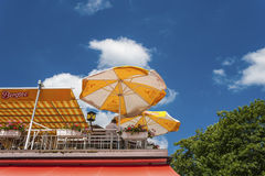 The terrace of the restaurant Bergsee in Titisee Neustadt Stock Images