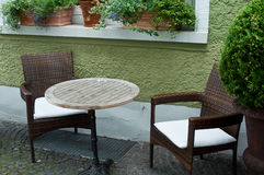 Terrace of restaurant with decorative plants Stock Photography