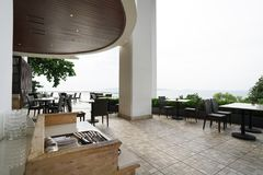 Terrace of Restaurant at harbor in pattaya royalty free stock photography