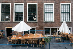 Terrace of Restaurant in the historical city centre of Delft Stock Photos