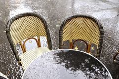 Terrace of a restaurant after the rain Stock Photo