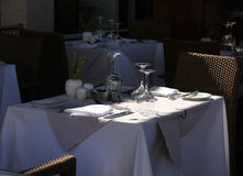 Terrace restaurant table waiting for guests Royalty Free Stock Images