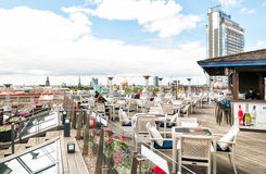 Terrace Riga, is trendy and unique place on the roof floor in the center of city. Stock Photos