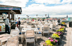 Terrace Riga, is trendy and unique place on the roof floor in the center of city. Stock Image