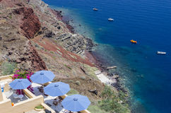Terrace in Santorini Royalty Free Stock Photos