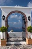 Terrace in Santorini island, Greece Stock Images