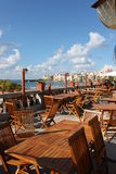 Terrace with sea. View, public restaurant, Sicily Italy Royalty Free Stock Photos