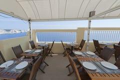 Terrace by the sea in Bonifacio, Corsica Stock Photo