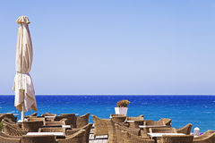 Terrace on the sea in Greece Stock Photos