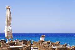 Terrace on the sea in Greece Stock Photos