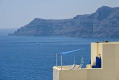 Terrace on the sea Oia - Santorini Island - Aegean sea - Greece. View of terrace on the sea Oia - Santorini Island - Aegean sea - Greece stock images