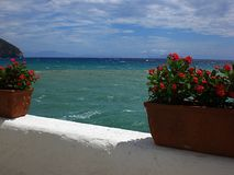 Terrace on the sea. Terrace overlooking the mediterranean sea Stock Images