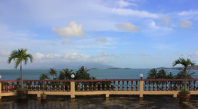Terrace with sea view stock photography
