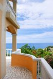 Terrace with sea view. Adriatic sea landscape, view from stone terrace Royalty Free Stock Photo