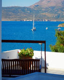 Terrace with a sea view, Greece Stock Photo