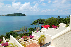 Terrace with sea view at luxury hotel Royalty Free Stock Image