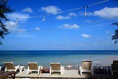 Terrace with sea view. Terrace overlooking sea on Koh Lanta island, Thailand Stock Image