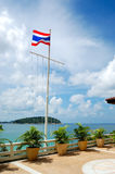 Terrace with sea view and Thai flag Stock Photo