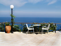 Terrace - sea view for two. Terrace above the Atlantic sea Stock Photo