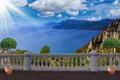Terrace with sea views ,France Stock Photos