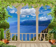 Terrace with sea views ,France Royalty Free Stock Images