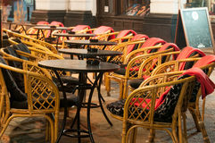 Terrace seats and tables Royalty Free Stock Images