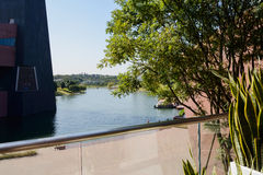 Terrace on second floor of lakeside modern building Royalty Free Stock Photos