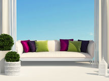 Terrace and sky. Terrace, furniture and bright cushions royalty free stock photo