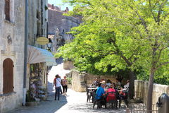 Terrace and soapshop in Les Baux-de-Provence, France Royalty Free Stock Photography