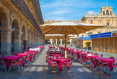 Terrace on a square in Salamanca royalty free stock images