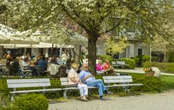 Terrace in Starnberg royalty free stock photography