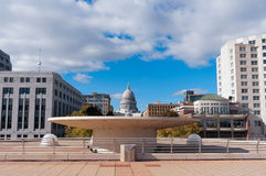 Terrace and State Capitol in Madison Wisconsin Royalty Free Stock Photos