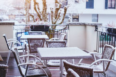 Terrace of street cafe in winter Royalty Free Stock Photo