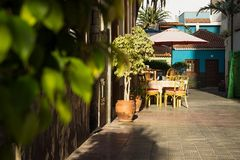 Terrace in the streets of Puerto de la Cruz, Tenerife, Canary Islands, Spain royalty free stock photography