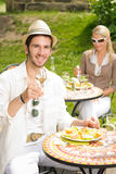 Terrace sunny restaurant Italian young man dining Stock Photo